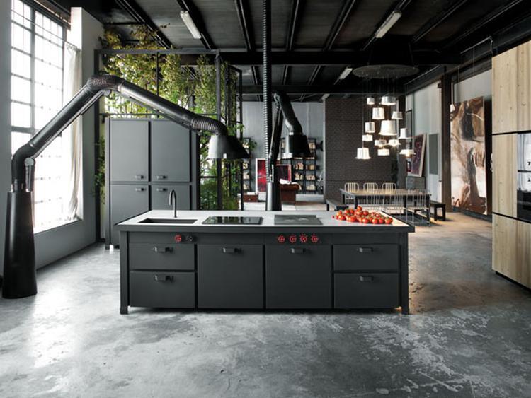 Stoere industriele keuken mat zwart. foto geplaatst door zaza op