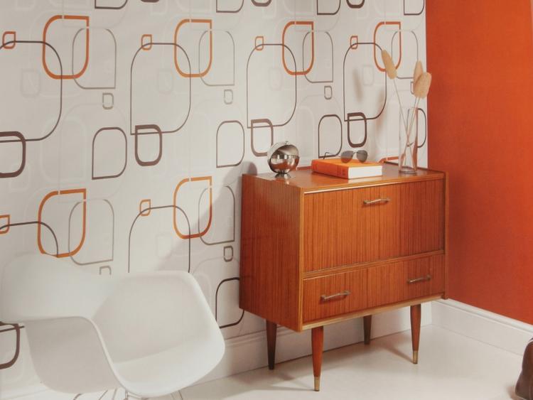 Mooi retro behang. Tof met die oranje accenten. Ideaal voor in ...