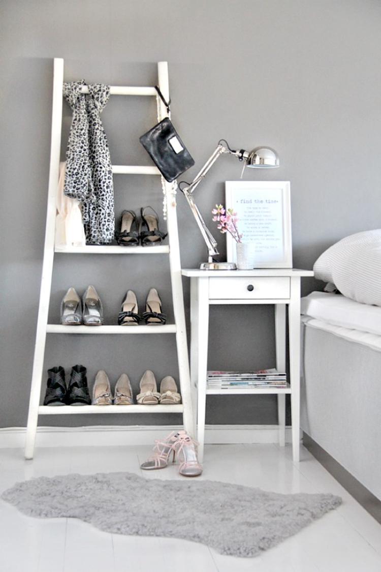 Welke vrouw wil deze ladder nu niet als schoenenrek.... Foto ...