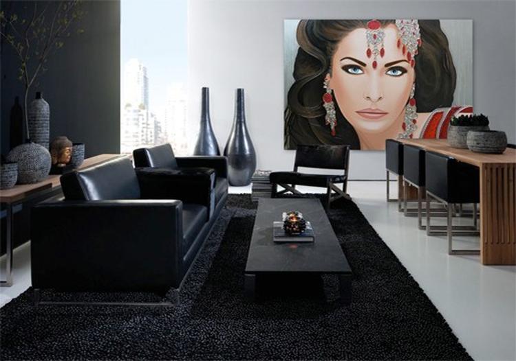 Modern interieur met strakke lijnen. Basis is zwart, wit en metaal ...