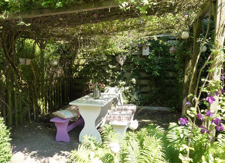 Pergola In Tuin : Mooi hoekje in mijn tuin pergola met clematis en kamperfoelie