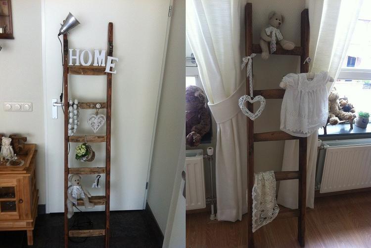 Oude houten schilders ladder in je interieur. De ladders hebben een ...