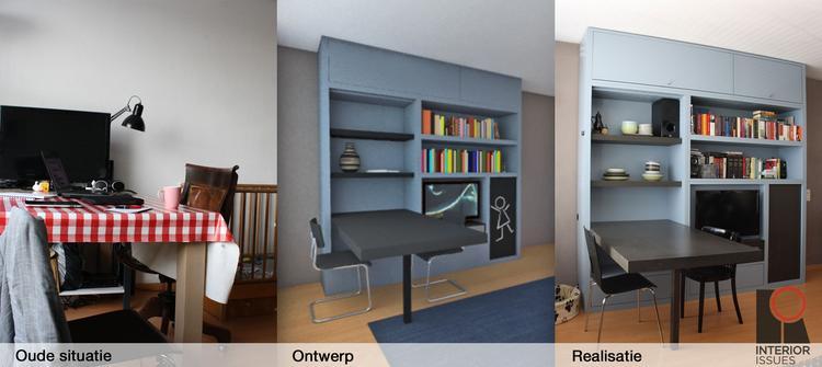 van de oude situatie via een ontwerp tot het eindresultaat de kast bevat tv eettafel boekenkast speelgoedkast servies berging