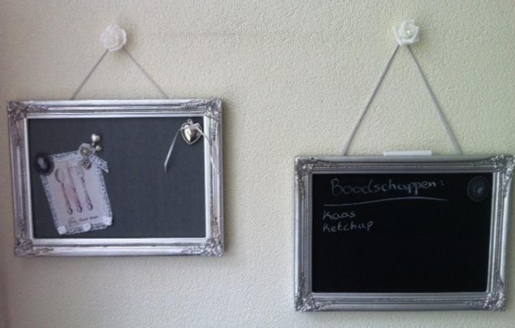 Een prik en krijtbord met lijst erom heen gemaakt past prima in
