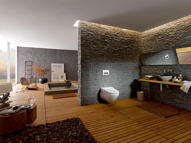 Warme Rustieke Badkamer : Wellness badkamer met geberit aquaclean douchewc geberit