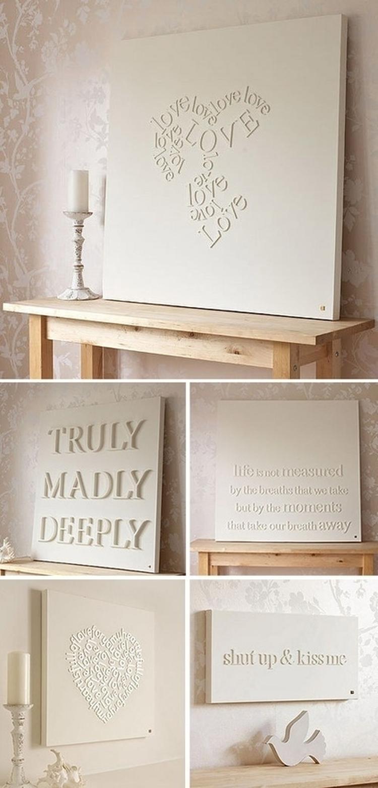 Houten letters op canvas plakken, vervolgens wit verven met een ...