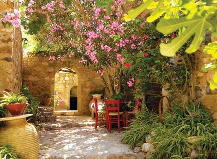 Heerlijk tuinhoekje met mediterrane sfeer om in te relaxen foto
