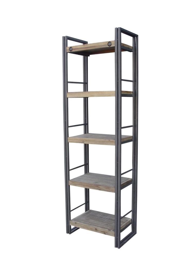 Stoere boekenkast gemaakt van staal en acacia hout wat licht ...