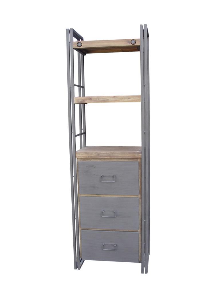 Leuke industriële boekenkast met lades. De boekenkast is 60cm breed ...