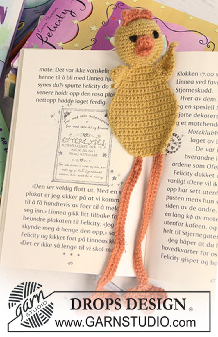 Gehaakte Drops Kuiken Boekenlegger Van Alpaca Foto Geplaatst