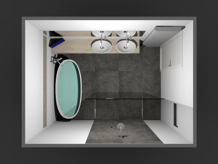 De Eerste Kamer) Ovaal vrijstaand bad met inloopdouche. In deze ...
