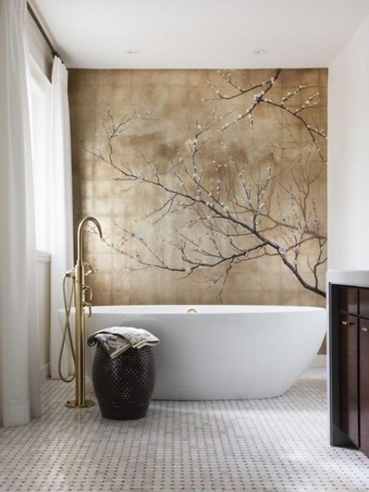 leuk idee zo\'n mooi rustgevend schilderij in de badkamer!. Foto ...
