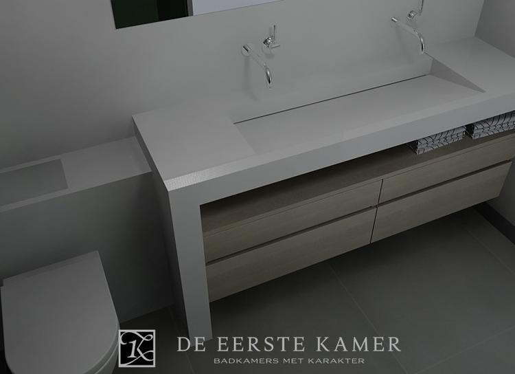 De Eerste Kamer) Een moderne wastafel van composiet gecombineerd ...