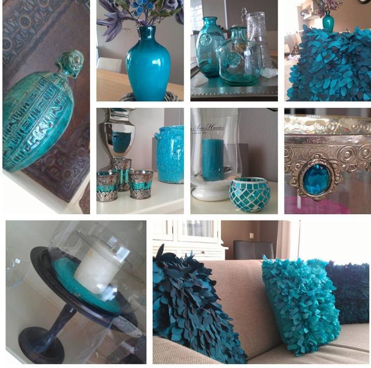 Groen/blauwe accessoires in woonkamer. Foto geplaatst door Marius op ...