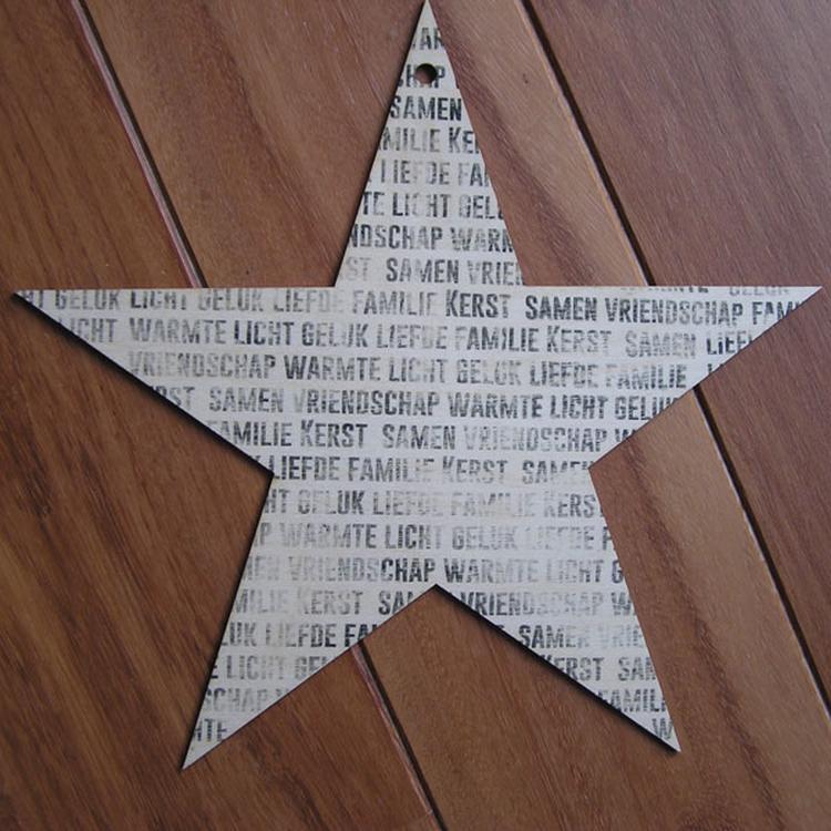 Ideetje voor kerst: houten ster met tekst. Zelf maken met de ...