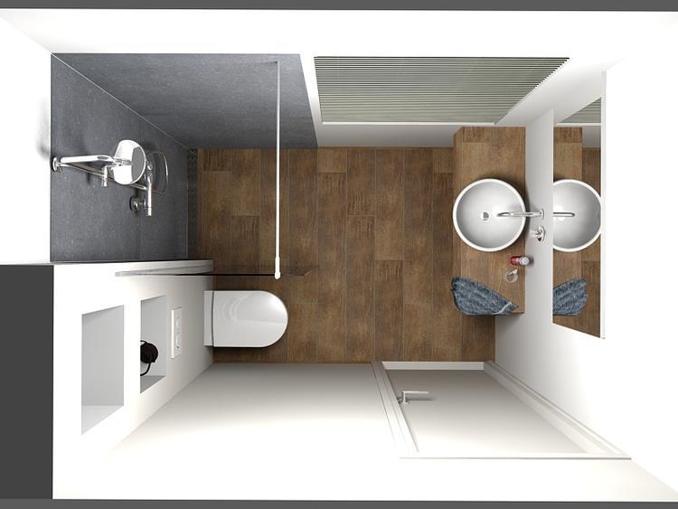 De Eerste Kamer) Een kleine badkamer die ruimtelijk oogt. Deze ...