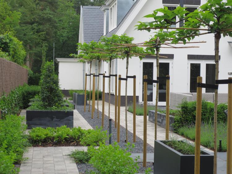 Grote Moderne Tuin : Grote strakke maar toch speelse tuin rondom een moderne woning