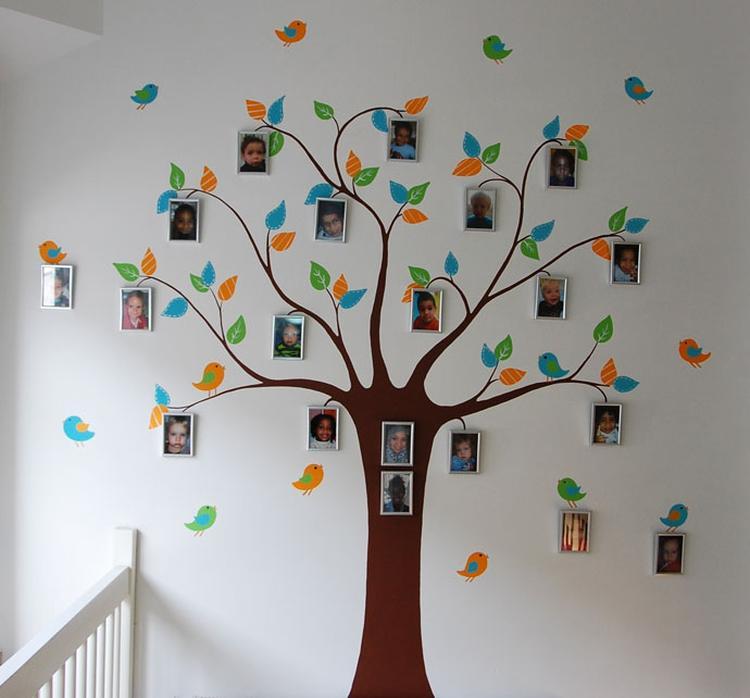 Gestileerde boom muurschildering met vogels en plek om ...