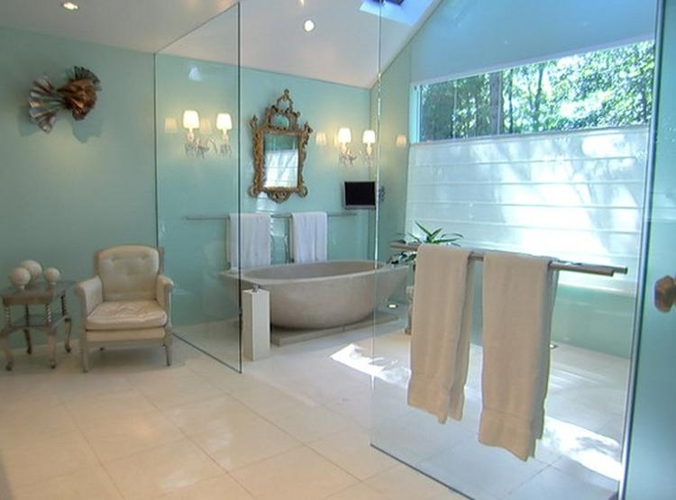 blauwe badkamer groen/blauw met koper. Foto geplaatst door ...