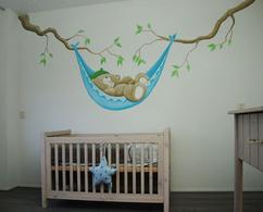 Babykamer Muurdecoratie Ideeen : Me you babykamer muurschildering op structuurverf structuur