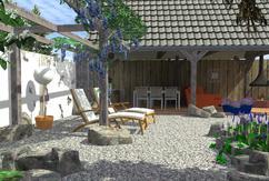 Tuin Open Haard : Modelleren van de open haard in de tuin d renderen u stockfoto