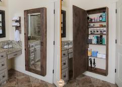 Badkamer massief houten schuur deur met spiegel buy china