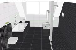 Rechthoekig Ontwerp Badkamer : Voorbeeld een kleine badkamer met grote tegels