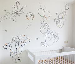Muurstickers Babykamer Tijgertje.De Leukste Ideeen Over Winnie The Pooh Muurschildering