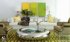 Groen In Woonkamer : Mooie woonkamer met groen en geel thema stock afbeelding