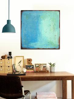 vrolijk turquoise blauw schilderij betaalbaar voor modern