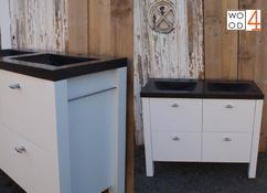 Badkamermeubel Op Pootjes : Badkamermeubel white wash rvs te boveldt meubelmakerij