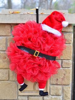 Zelf Maken Kerstmuts Rode Tule Zwarte Riem Stoffen Beentjes Met