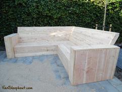≥ douglas houten loungebank tuin hoek bank voor tuin of terras