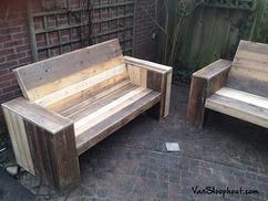 Robuuste loungebank van douglas voor in de tuin houtkwadraat