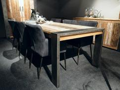Massief houten eettafel metalen u pootlandelijkinrichten