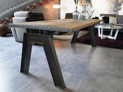 Tafel hout metaal bijzettafel hout onlineauctionmaster
