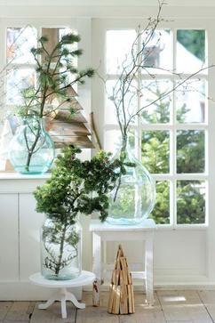kerst takken op glas