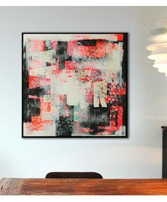 4c014969b7c654 Abstract schilderij, pop art stijl typografie met felle neon kleuren erin  verwerkt. Basiskleuren <