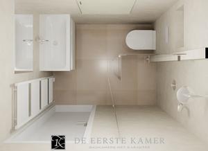De Eerste Kamer) Een kleine badkamer met een mooie wandafwerking van ...