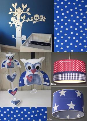 babykamer ideeën accessoires blauw rood uil. foto geplaatst door, Deco ideeën