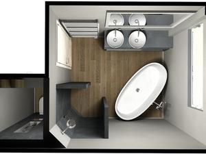 Kleine badkamer, beton ciré, vrijstaand bad. Foto geplaatst door ...