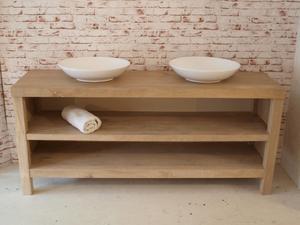 Droomhout badkamermeubel hoogglans wit met massief hout