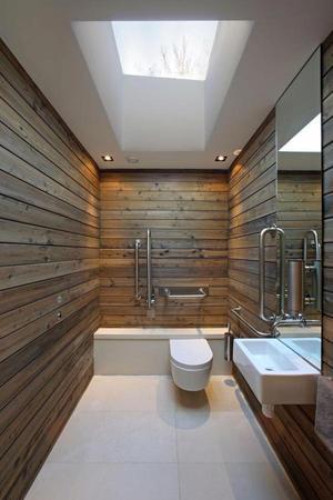 badkamer met houten wanden ipv tegels. Foto geplaatst door ...